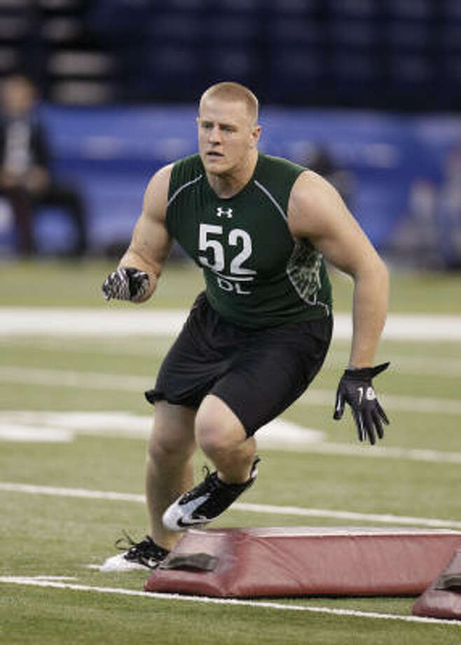 J.J. Watt, DE, Wisconsin - 5:1Watt is a high-motor DE who should be a perfect fit in a 3-4 defense. While Watt will likely be there at 11, I'm not sure the Texans will prioritize a player who would have to come in and sit for at least a year behind Antonio Smith and Mario Williams and only get snaps in a rotation. Stock Price: $1.715 Photo: Darron Cummings, ASSOCIATED PRESS