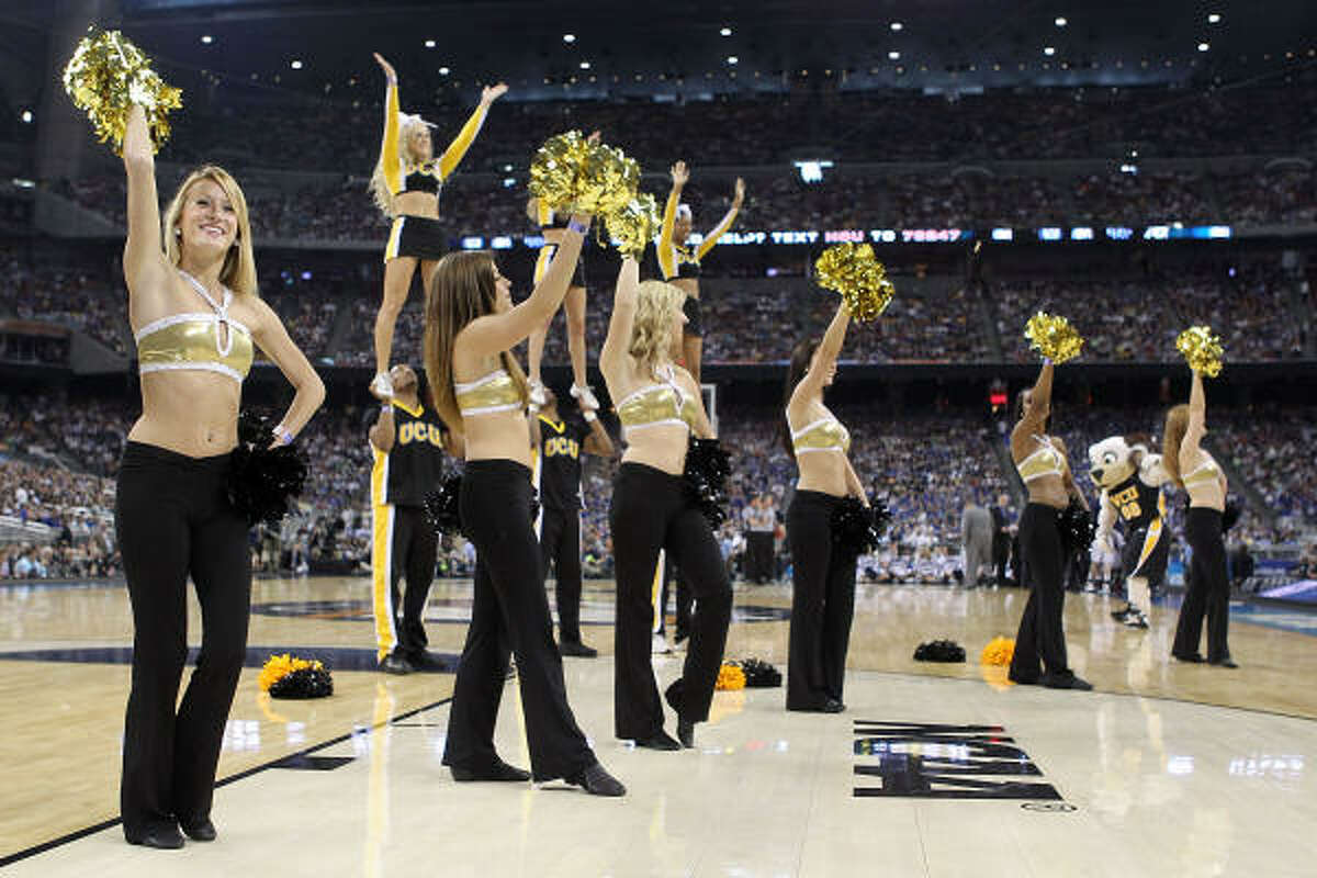 Members of the Virginia Commonwealth Rams cheerleading squad performs during the National Semifinal game.