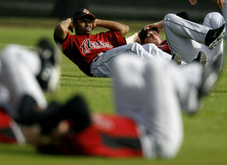 Feb. 15: This is what new center fielder Michael Bourn gets for reporting to spring training early. Photo: Karen Warren, Chronicle