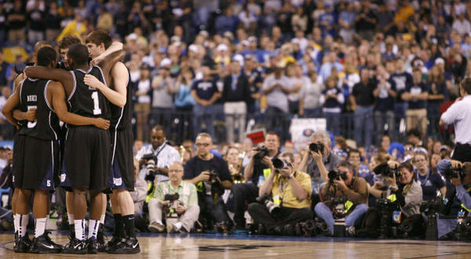 You remember Butler   Butler captured the hearts of basketball fans – and non-sports fans, even – everywhere last year with its remarkable run to the national championship game. The tiny school from Indianapolis lost to perennial powerhouse Duke when Gordon Hayward's halfcourt heave at the buzzer hit the backboard and the rim but didn't fall. Photo: Karen Warren, Chronicle