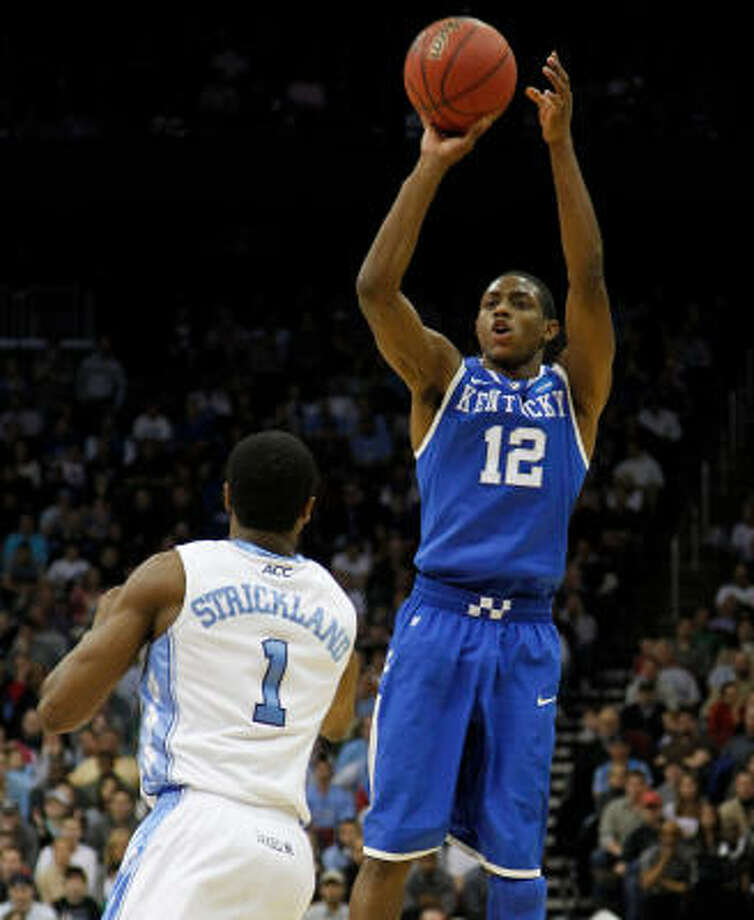 """Brandon KnightThe 6-foot-3 guard from Ft. Lauderdale, Fla., is among a small group of players in discussion for the national player of the year. He averages 17.2 points and was named the most outstanding player of the East Region. He scored 22 points in Sunday's win over North Carolina.  Knight's 3-pointer with 2:52 to go broke a 67-67 tie and put Kentucky ahead for good. """"I was confident,"""" Knight said. """"Like I said, me and my teammates are hard workers. We come early to practice to shoot. We stay after to shoot."""" Photo: Mark Cornelison, MCT"""