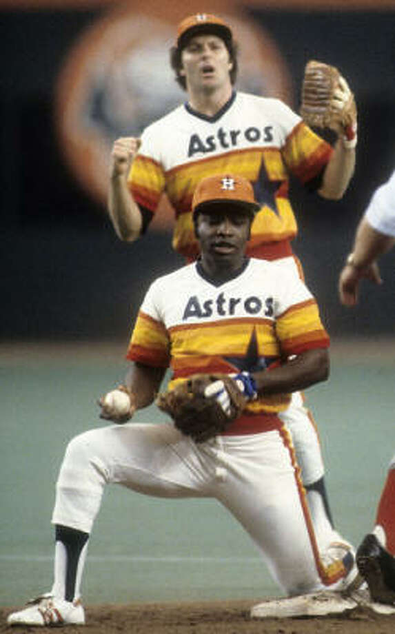 Houston Astros– Joe Morgan If you want make this a Greatest Astro debate, then Jeff Bagwell vs. Craig Biggio is a good one. Ultimately, Morgan is higher on baseball's food chain of greatness than Bagwell and Biggio. Morgan's greatest success came as the player who took Cincinnati's Big Red Machine into another gear, but it's not as if he were an Astro who passed through the night. Before the wrong-headed trade that sent Morgan to the Reds, he'd played 891 games and made two All-Star teams as an Astro. The Astros also had Jimmy Wynn, Doug Rader, Cesar Cedeno and Bob Watson in place, creating one of those great what-if? scenarios. What if Morgan had stayed? Would his career have taken off the same way if he'd stayed, or did he need the change in scenery? Could the Astros have built something special if they hadn't broken up that nucleus? As it was, Morgan won a couple of MVP awards and five Gold Gloves in Cincinnati, building a resume that makes him the best second baseman this side of Eddie Collins and Rogers Hornsby. Photo: Getty Images File Photo