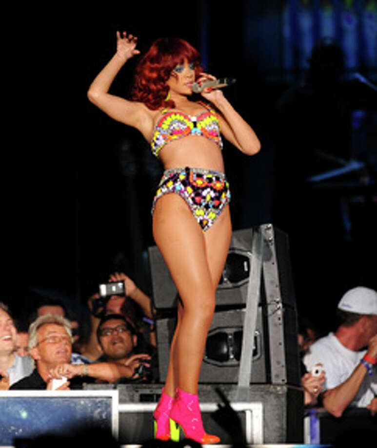 Rihanna performs at the Mandalay Bay Events Center in Las Vegas Saturday, July 2, 2011. (AP Photo/Las Vegas News Bureau, Brian Jones) Photo: Brian Jones, Hearst