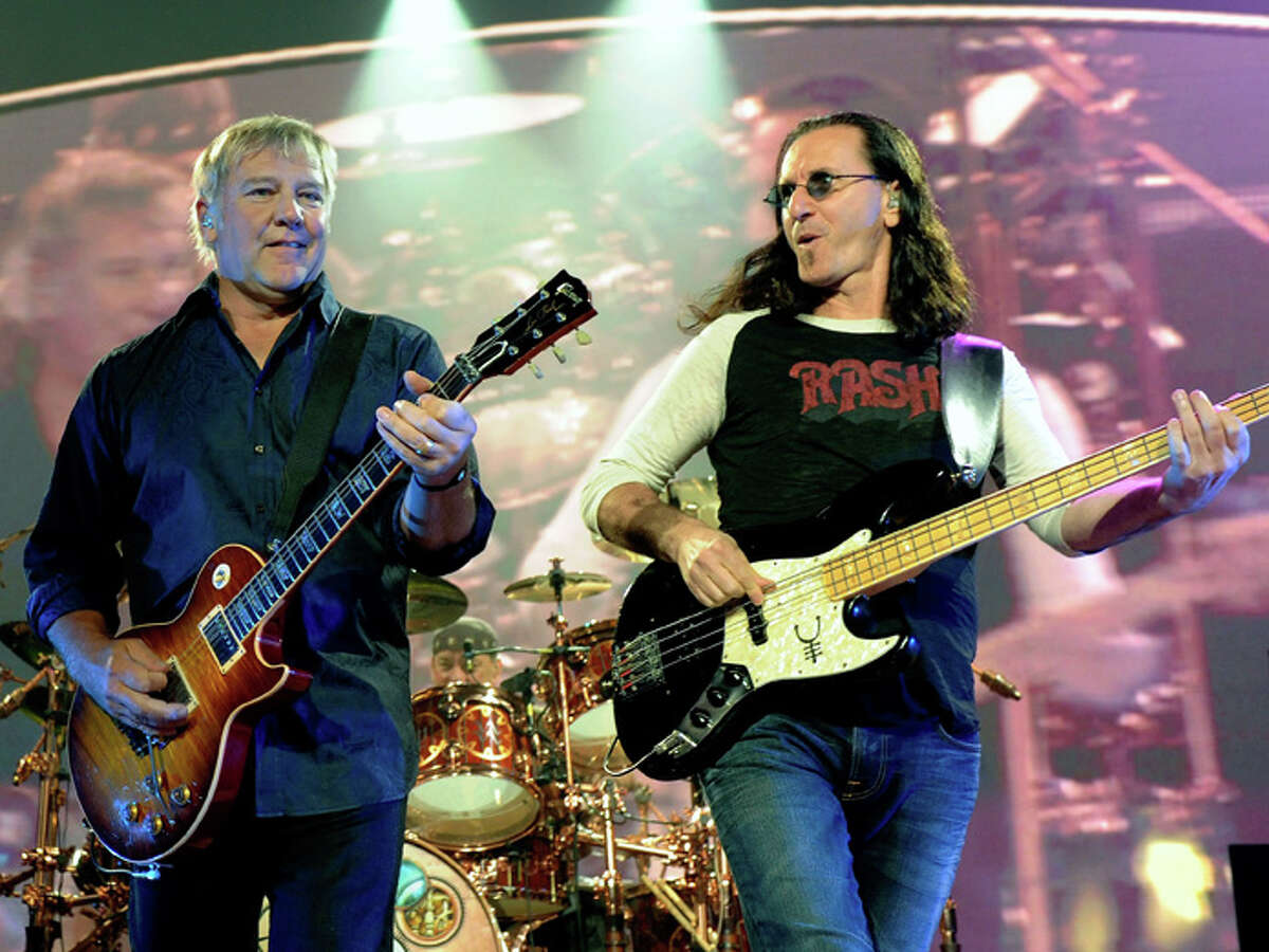 Alex Lifeson (left), Geddy Lee and Neil Peart (back) -- performs at the MGM Grand Garden Arena during a stop of the band's Time Machine Tour August 14, 2010 in Las Vegas, Nevada.