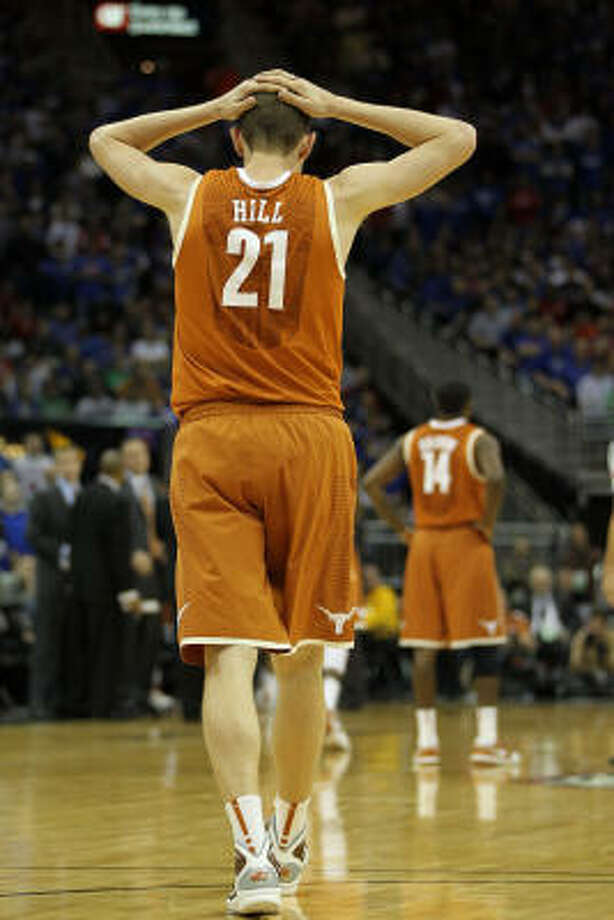 Texas' Matt Hill reacts after a play by the Kansas Jayhawks. Photo: Jamie Squire, Getty Images