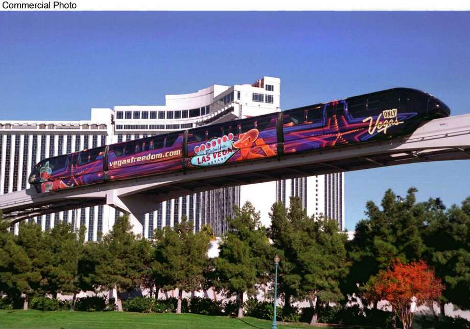 The new Las Vegas Monorail now makes it possible to travel the length of the Las Vegas Strip in under 15 minutes at speeds of up to 50 mph.  The 4.4 mile route stops at the following stations: MGM Grand; Bally's/Paris; Flamingo/Caesars Palace; Harrah's/Imperial Palace; the Las Vegas Convention Center; the Las Vegas Hilton; and the Sahara.  Plans are underway for the monorail to extend downtown to the Fremont Street Experience and eventually to McCarran International Airport. (PRNewsFoto) Photo: Hearst / LAS VEGAS MONORAIL