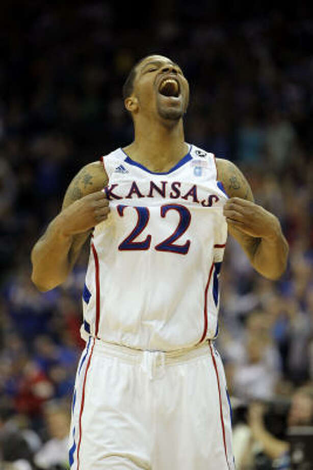 Kansas' Marcus Morris celebrates after a play against the Texas Longhorns. Photo: Jamie Squire, Getty Images
