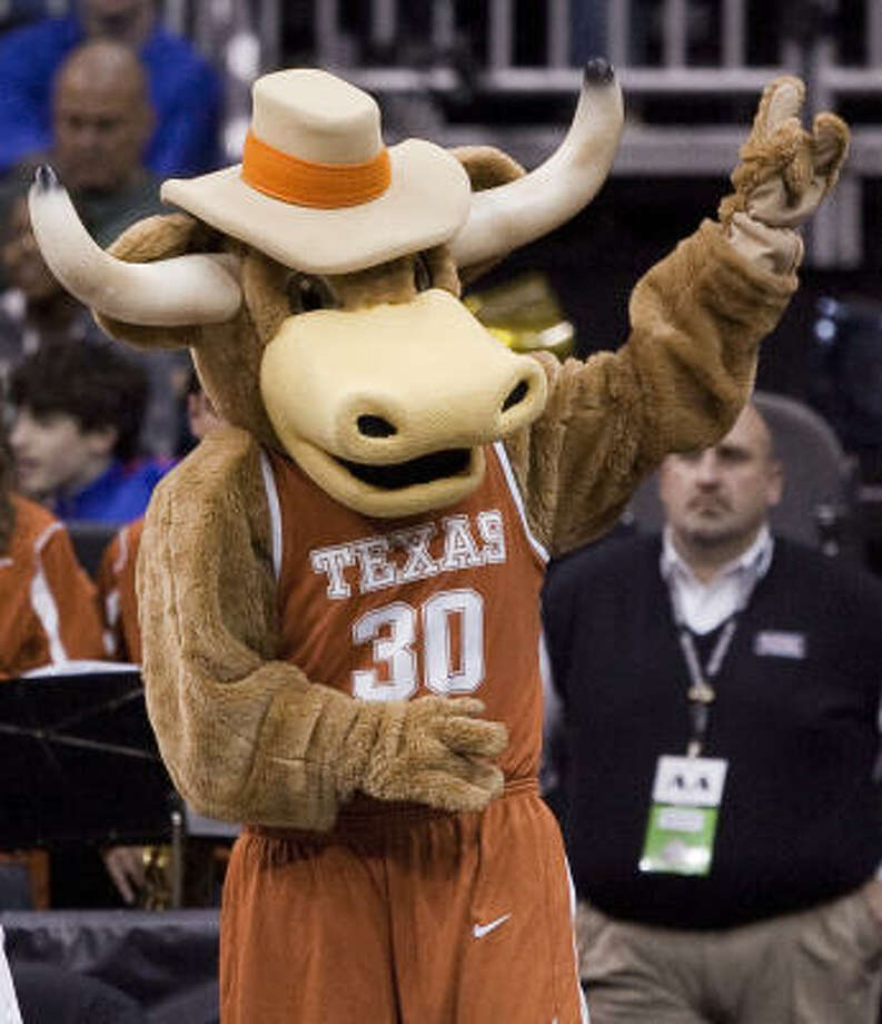 Bevo, the Univeristy of Texas mascot, entertains the crowd. Photo: SHANE KEYSER, MCT