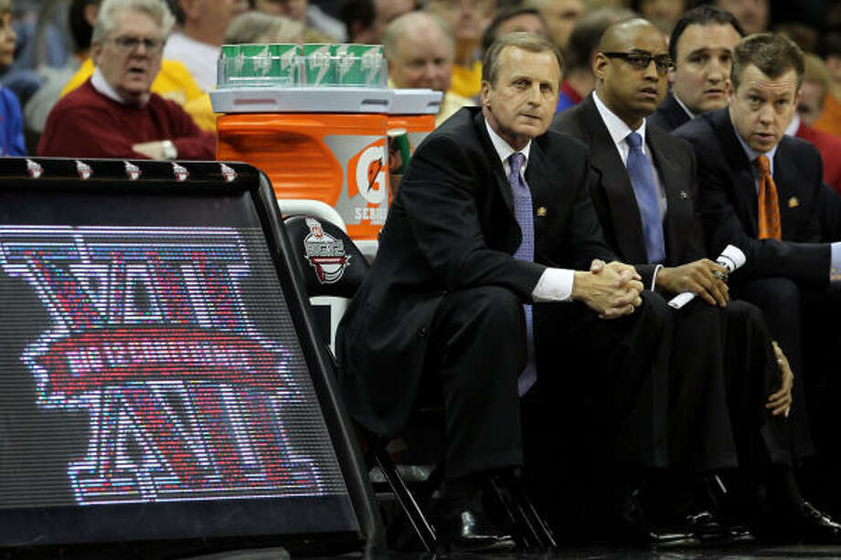Texas coach Rick Barnes looks on during the game. Photo: Jamie Squire, Getty Images