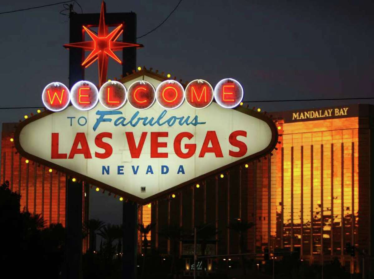 A view of the welcome sign on Las Vegas Boulevard, known as