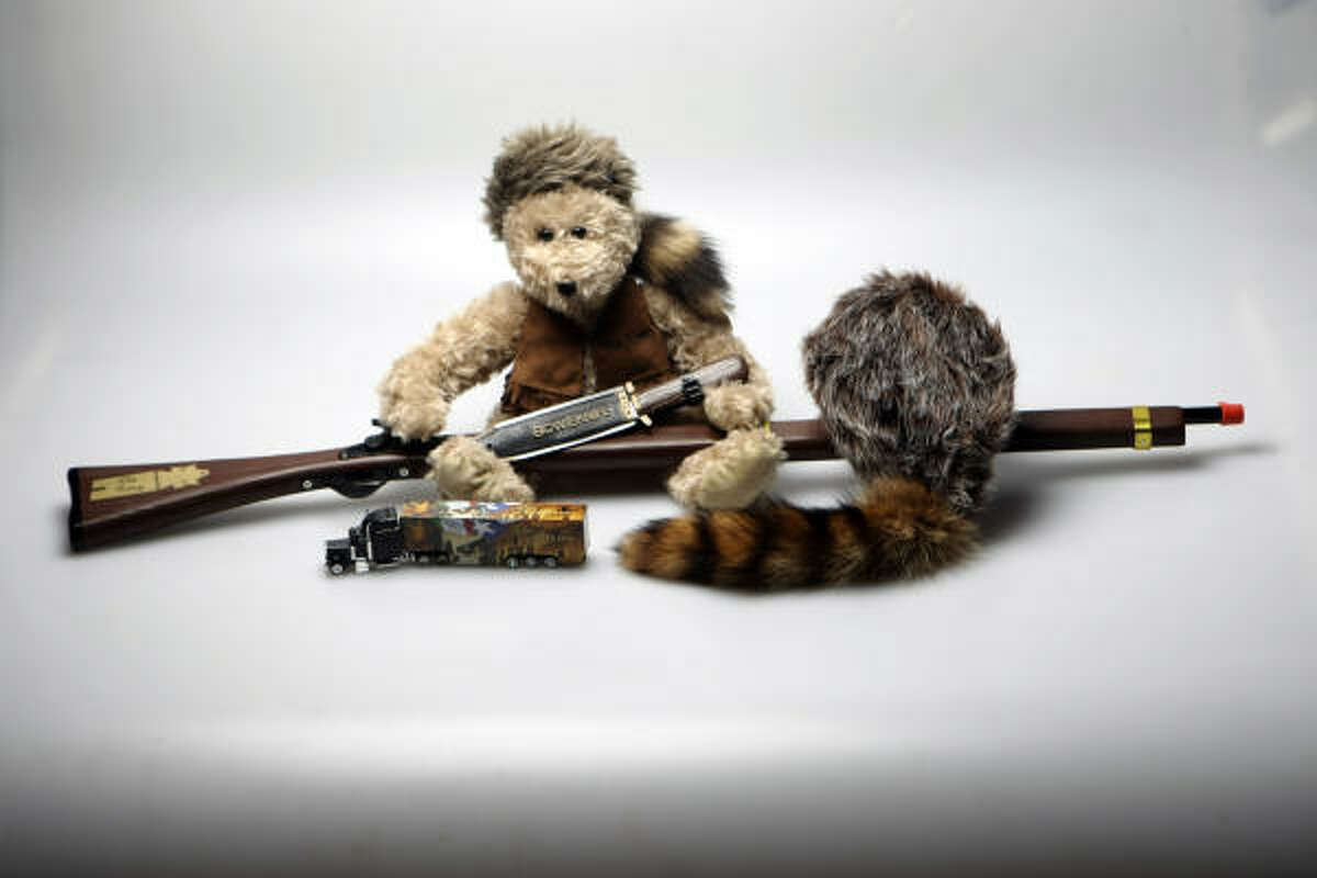 Davy Crockett teddy bear ($19.95), Old Betsy rifle (a toy one for $26.95), Jim Bowie's famous knife (also a toy one for $3.95) and even a curious Alamo tractor-trailer ($5.95)