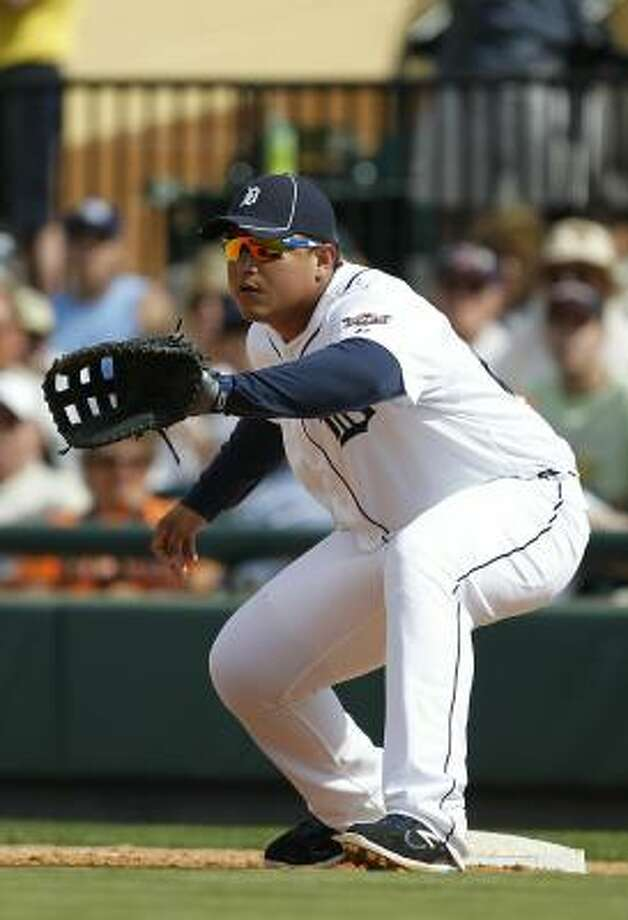 Tigers first baseman Miguel Cabrera waits for a throw. Photo: Leon Halip, Getty Images