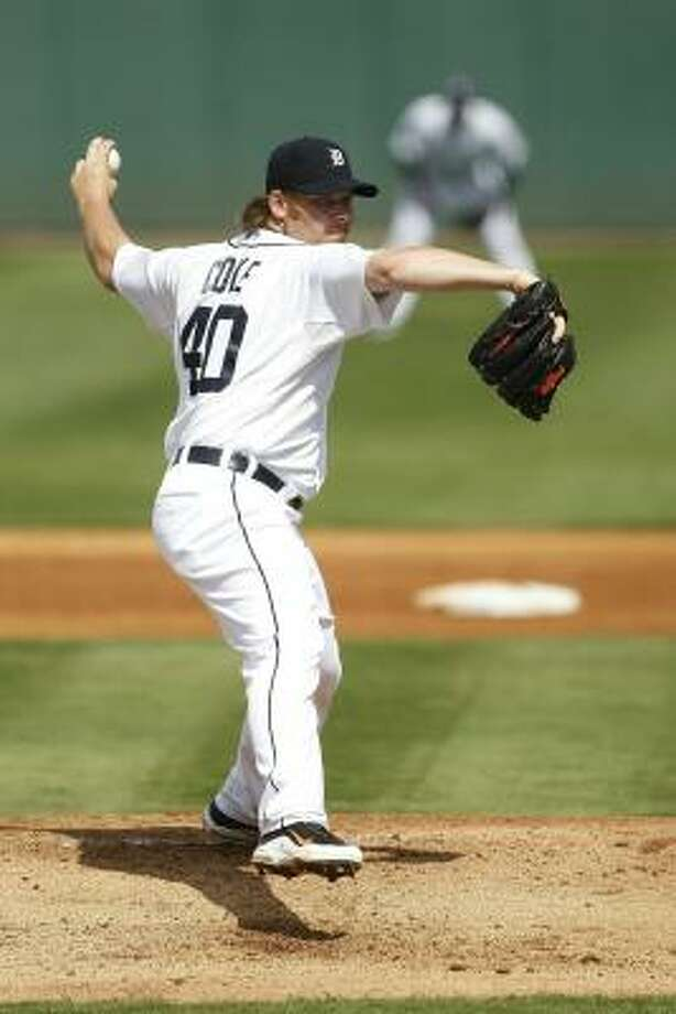 Tigers lefthander Phil Coke pitches in the first inning. Photo: Leon Halip, Getty Images