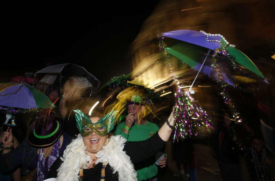 Magen Ortiz of Galveston during the Funky Uptown Umbrella Brigade Parade. Photo: Melissa Phillip, Houston Chronicle