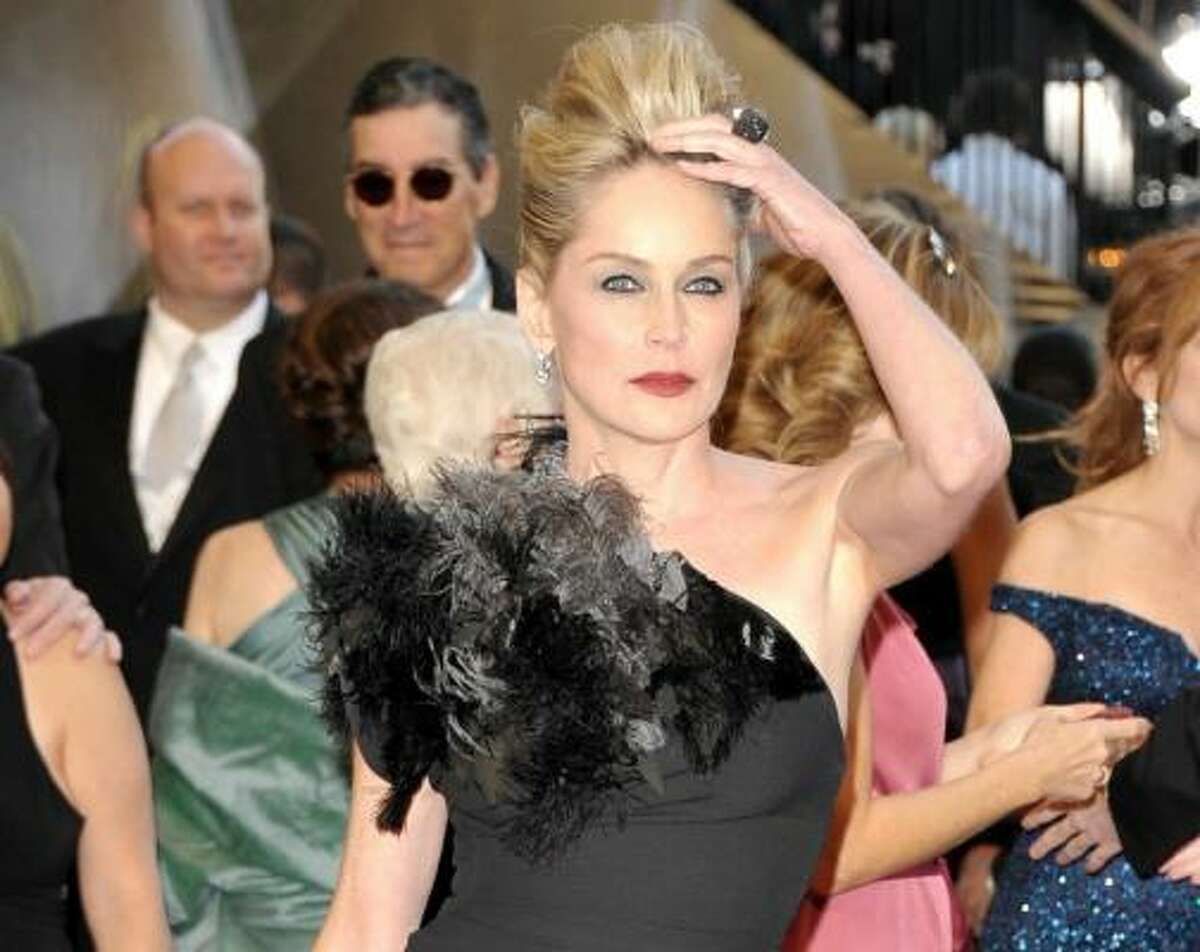 Sharon Stone , a pigeon has died on your shoulder.