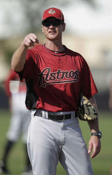 Astros pitching coach Brad Arnberg gestures to one of his pitchers before the intrasquad game.