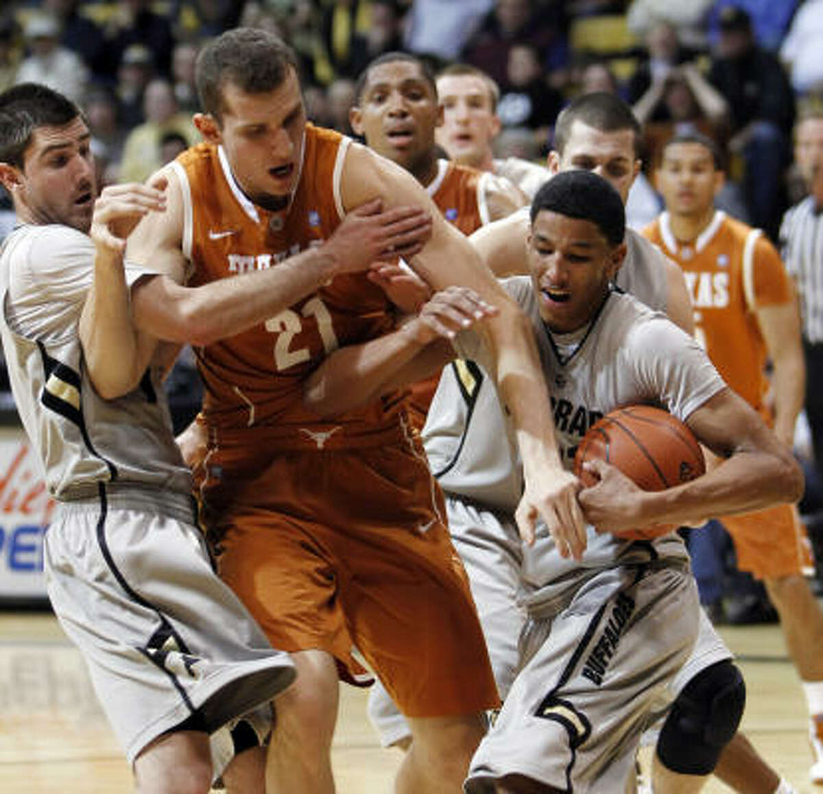 Feb. 26: Colorado 91, Texas 89 Colorado's Alec Burks, right, took control of the ball and the game against Texas on Saturday. Burks scored a game-high 33 points to help the Buffaloes rally from a 22-point deficit and upset the No. 5 Longhorns.