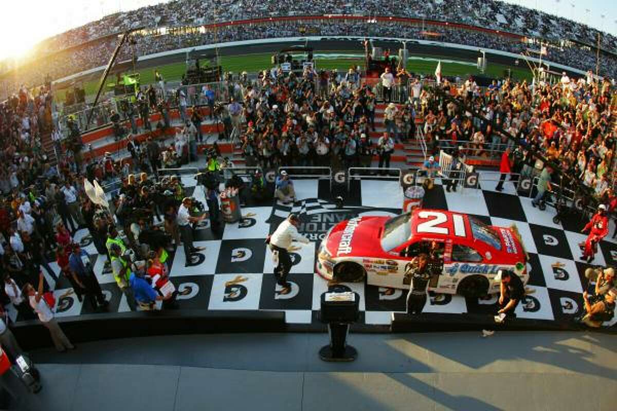 Trevor Bayne pulls his car into Victory Lane.