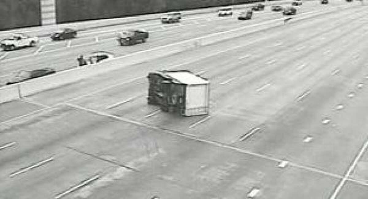 A TranStar camera captures an overturned truck on the West Loop at Memorial this morning.