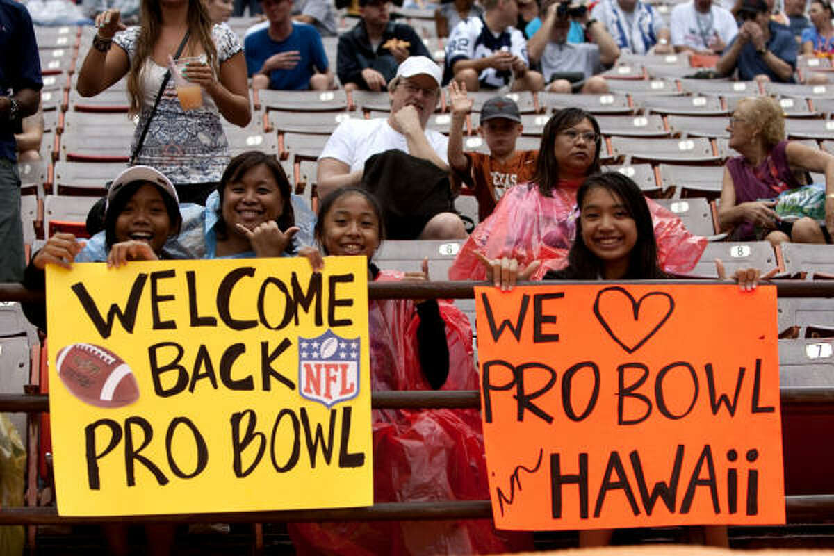 Several fans hold signs welcoming back the NFL Pro Bowl back to Hawaii. The game was played in Miami last year.