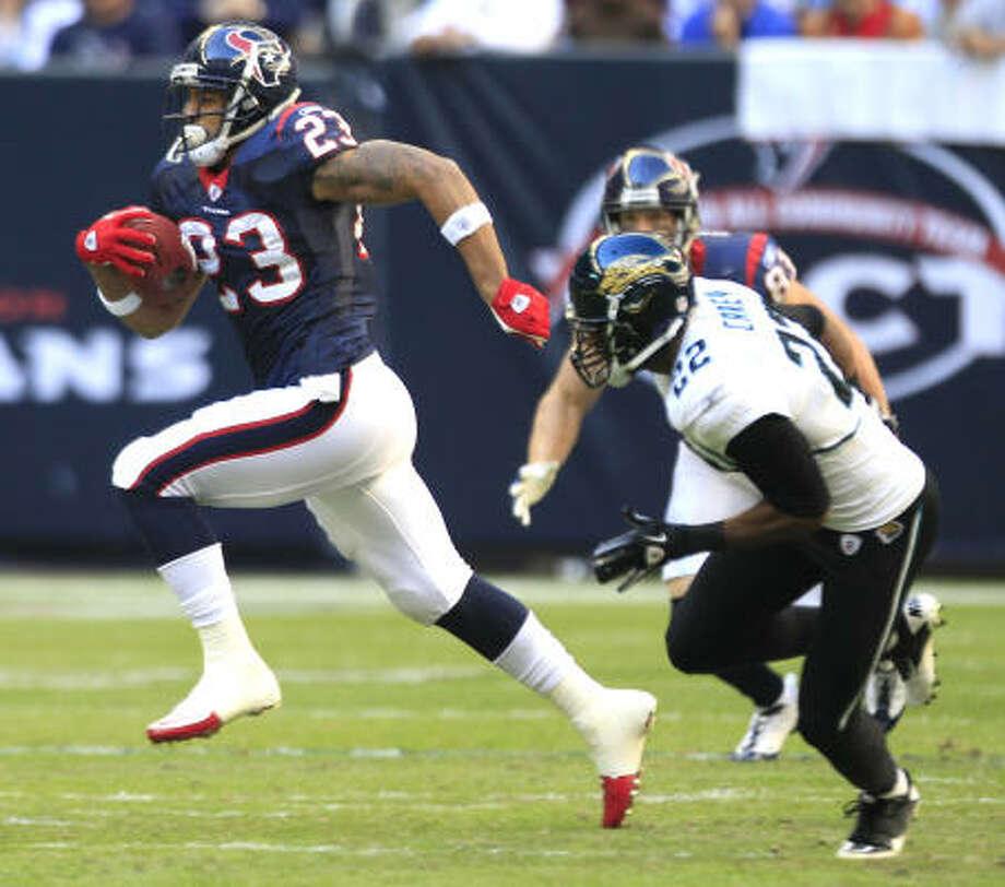 Jan. 2: Texans 34, Jaguars 17 Texans running back Arian Foster (23) runs past Jaguars cornerback Don Carey on a 56-yard run during the first quarter. Photo: Brett Coomer, Chronicle