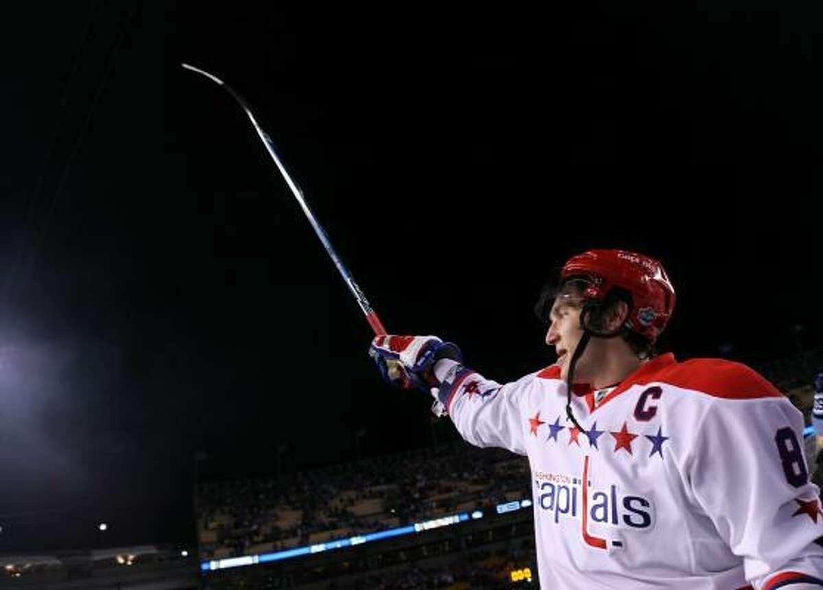 Washington's Alex Ovechkin celebrates his team's 3-1 win.