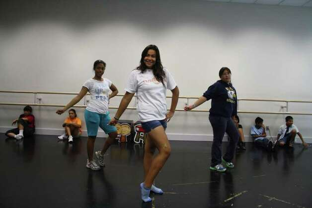 "Rebekah Williams (from left), Nadia Hernandez and Megan Solis are rehearsing ""The Two Stories of the Three Little Pigs."" Courtesy of St. Philip's College"