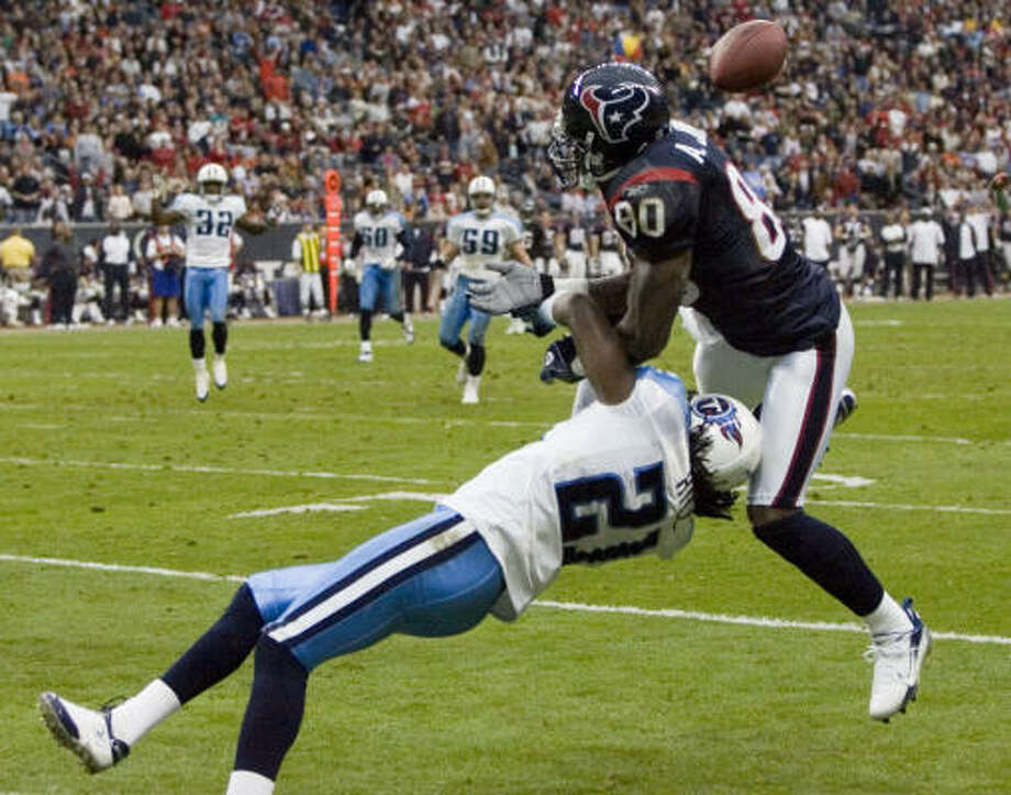 Andre Johnson and the Texans receivers have someone new to report to. Photo: BRETT COOMER, CHRONICLE