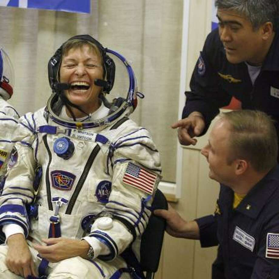 Peggy Whitson, who blasted off on a Russian rocket Wednesday, is expected to arrive at the space station Friday. Photo: MIKHAIL METZEL, AP