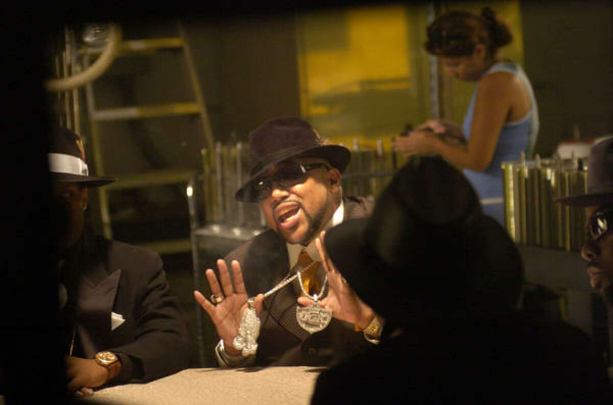 Pimp C performs Knockin' Doors Down during a Rap-A-Lot Records video shoot in Houston on Oct. 17, 2006.