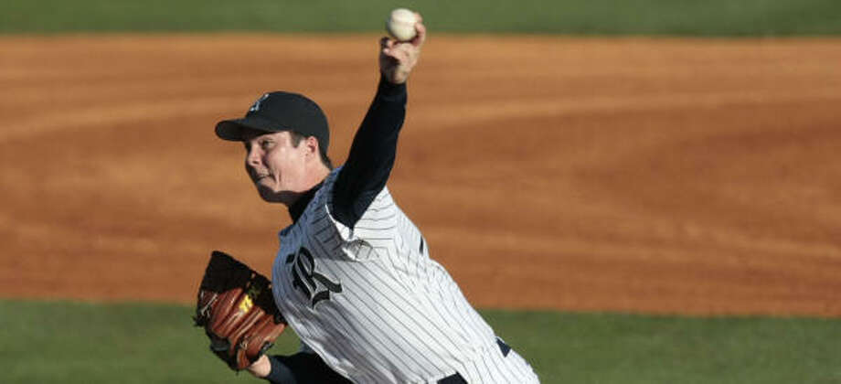 In his last 10 appearance, Matt Evers of Rice is averaging about 1½ strikeouts per inning. Photo: Billy Smith II, Chronicle