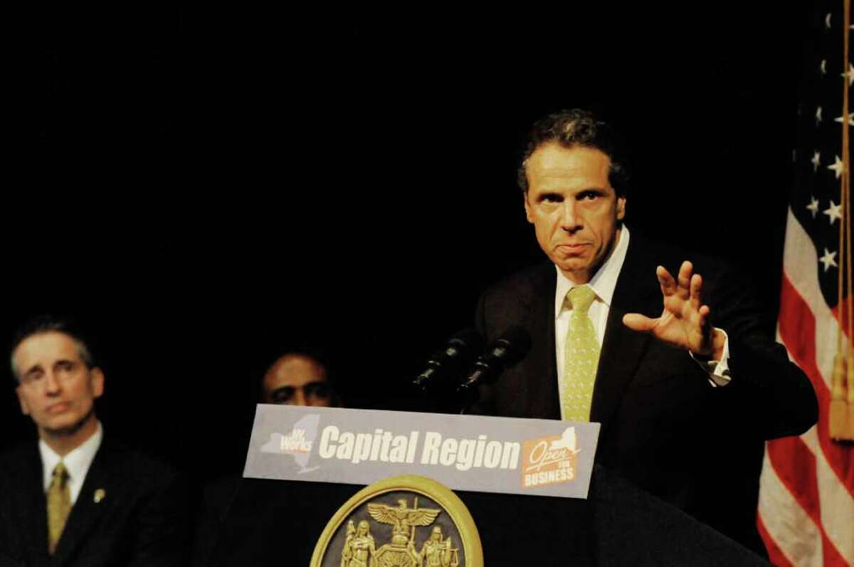 Gov. Andrew Cuomo outlines the Cuomo administrations regional economic development council at SCCC in Schenectady, NY Thursday July 28,2011.( Michael P. Farrell/Times Union)