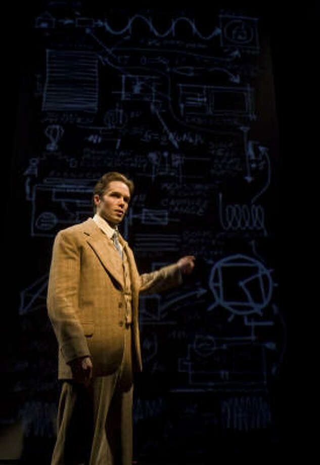 "Brandon Hearnsberger as ""Philo T. Farnsworth during a rehearsal of the Alley Theatre's production of The Farnsworth Invention. Photo: James Nielsen, Houston Chronicle"