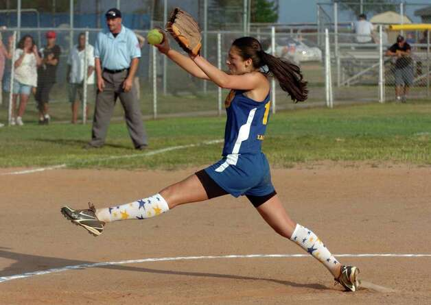 Black Rock's #10 Rachel Landock pitches, during little league softball championship action against Waterford in West Haven, Conn. on Thursday July 28, 2011. Photo: Christian Abraham / Connecticut Post