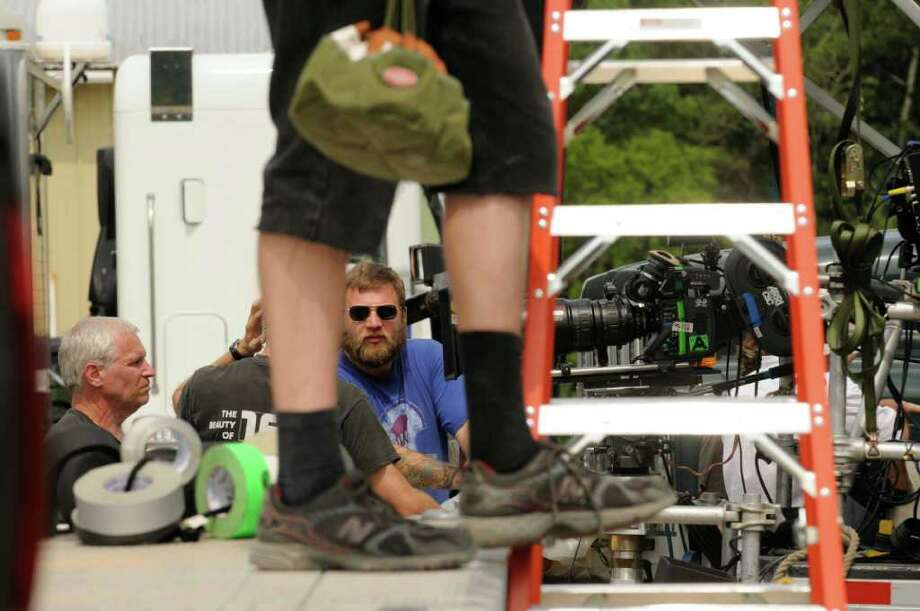"""Crews get ready for filming on the set of """"The Place Beyond The Pines"""" off Route 5 in Glenville, NY Thursday July 28,2011.( Michael P. Farrell/Times Union) Photo: Michael P. Farrell"""