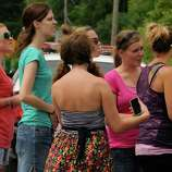 """Fans wait to get a glimpse of actor Ryan Gosling just off  the set of """"The Place Beyond The Pines"""" off Route 5 in Glenville, NY Thursday July 28,2011.( Michael P. Farrell/Times Union)"""
