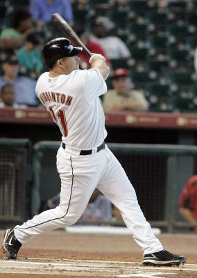 Ty Wigginton homers off Aaron Harang in the first inning at Minute Maid Park. Photo: Pat Sullivan, AP