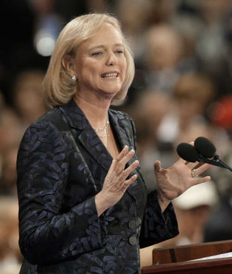 Former eBay president and CEO Meg Whitman, shown speaking at the Republican National Convention last month, told a Houston audience today that Texas is one of the best states in which to start a business. Photo: Paul Sancya, AP