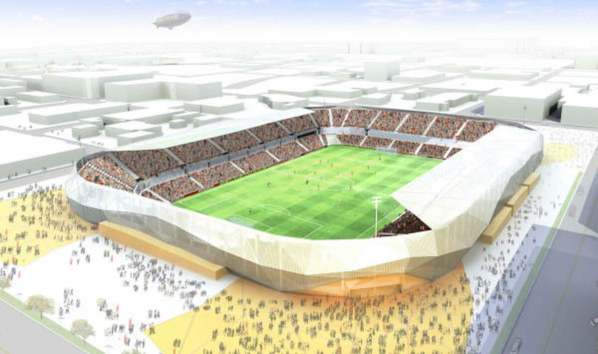 An artist's rendering of the Dynamo's proposed new downtown stadium.