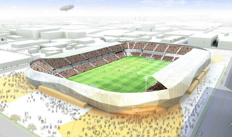 An artist's rendering of the Dynamo's proposed new downtown stadium. Photo: ICON Venue Group