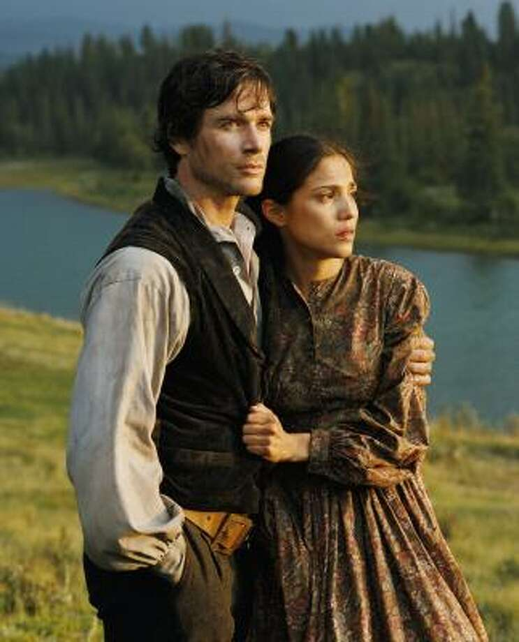 The mini-series Into the West, starring Matthew Settle and Tonantzin Carmelo, led all others with 16 Emmy nominations. Photo: KURT MARKUS, Associated Press