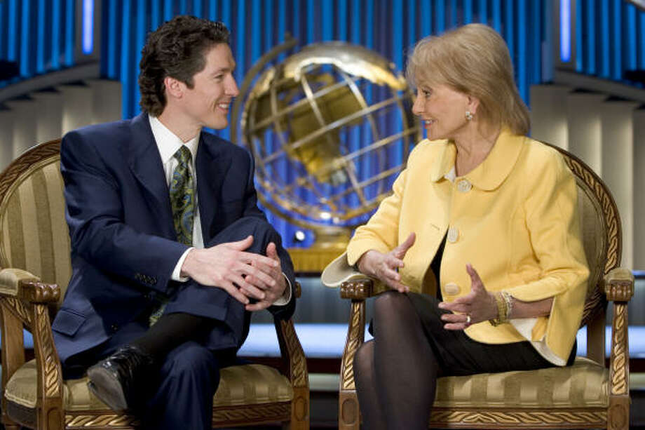 Joel Osteen and Barbara Walters. Photo: BRETT COOMER, CHRONICLE