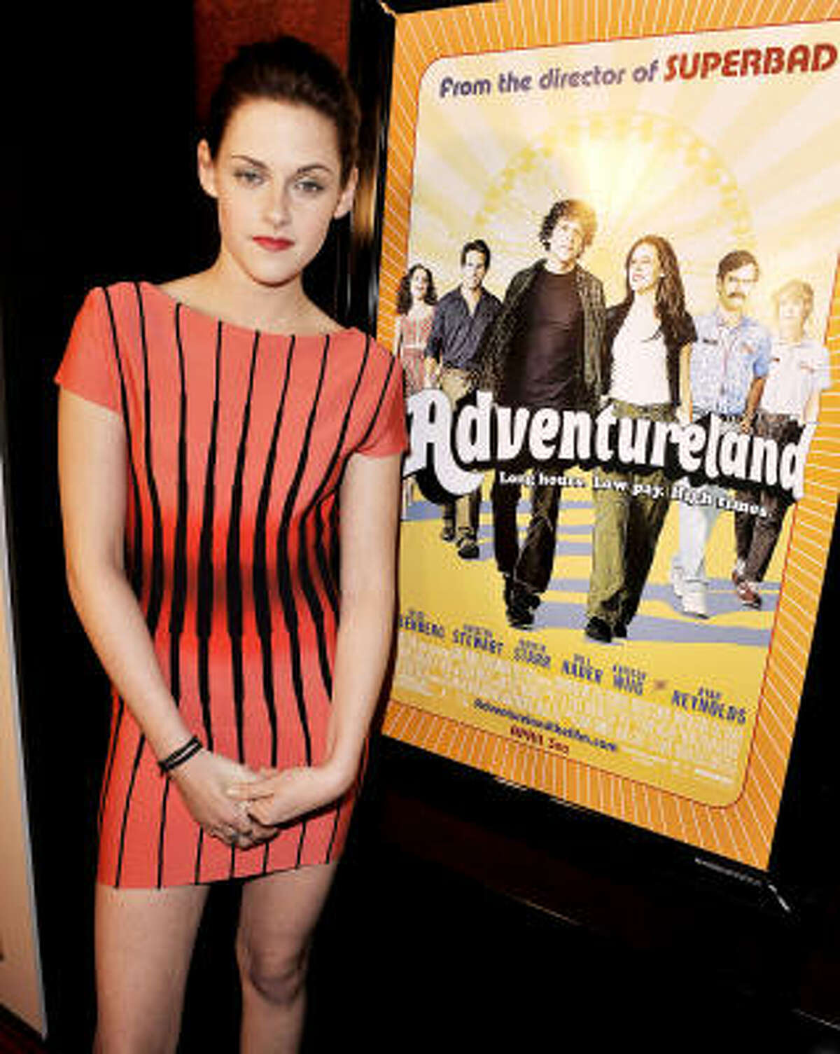 "Actress Kristen Stewart was delighted to find out she would be playing opposite Jesse Eisenberg in Adventureland and that ""they didn't hire someone a little more obvious — like a young Brad Pitt."""