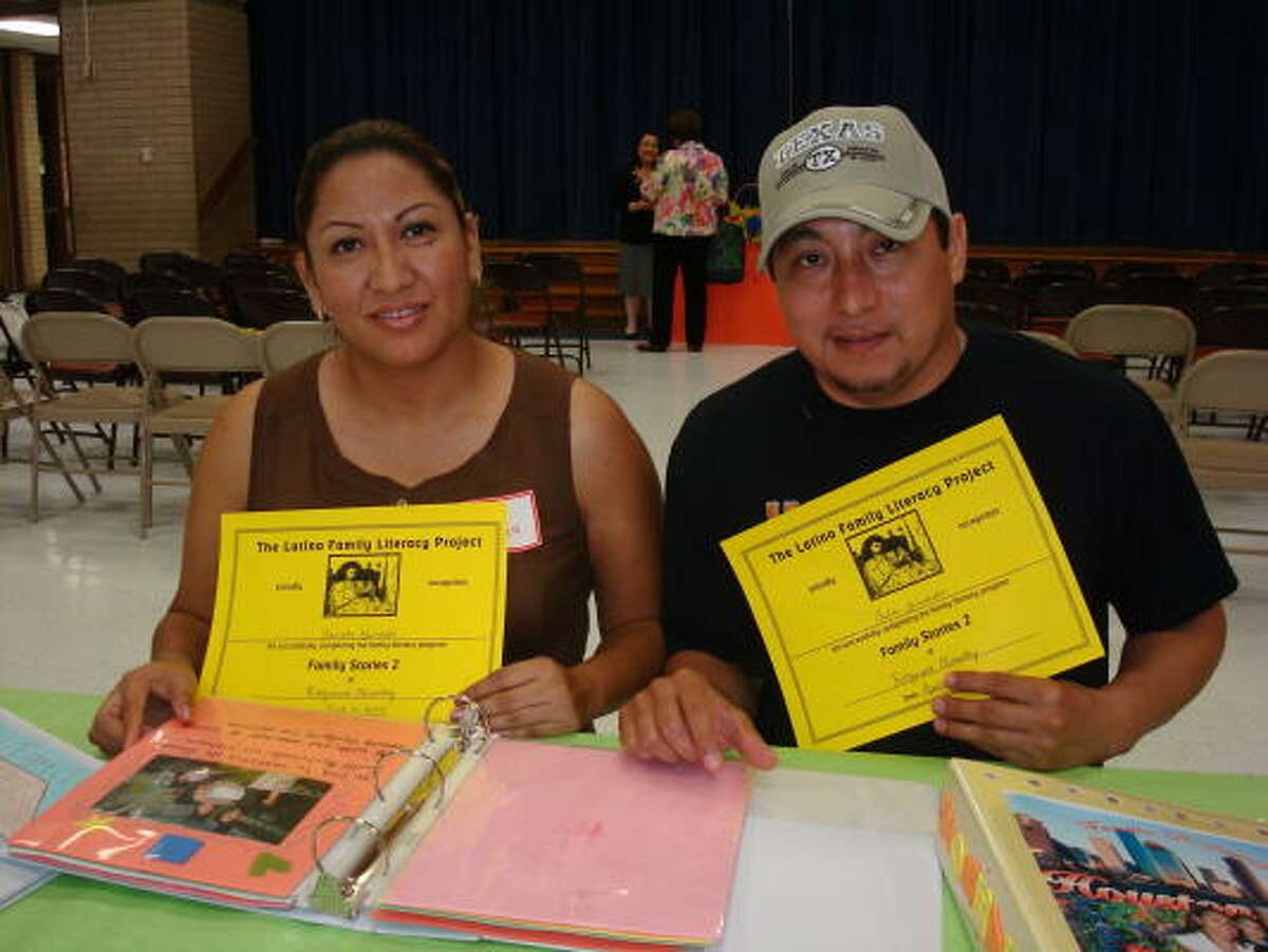 Fabiola and Carlos Grimaldo were among 28 FBISD parents to recently complete the Latino Family Literacy Program offered at Ridgemont Elementary School.