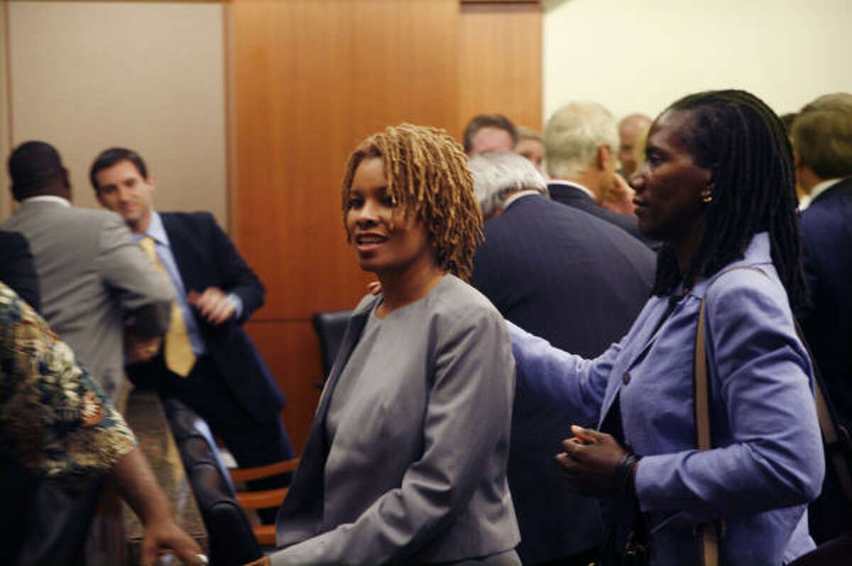 Continental Airlines flight attendant Sharon Brown leaves the courtroom Thursday after a Harris County jury determined that Lakewood Church co-pastor Victoria Osteen did not assault her.