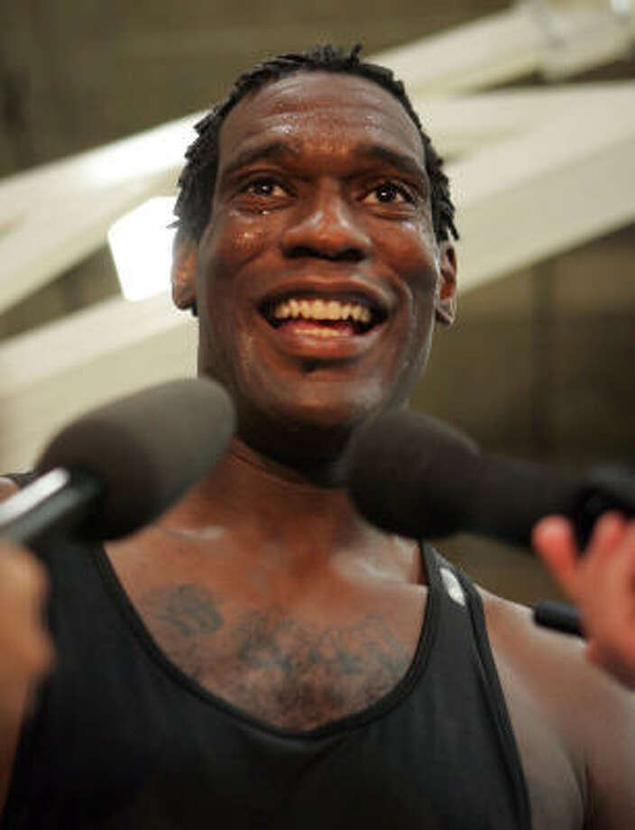 Former NBA star Shawn Kemp talks to the media in  Denver in June. Photo: JACK DEMPSEY, AP
