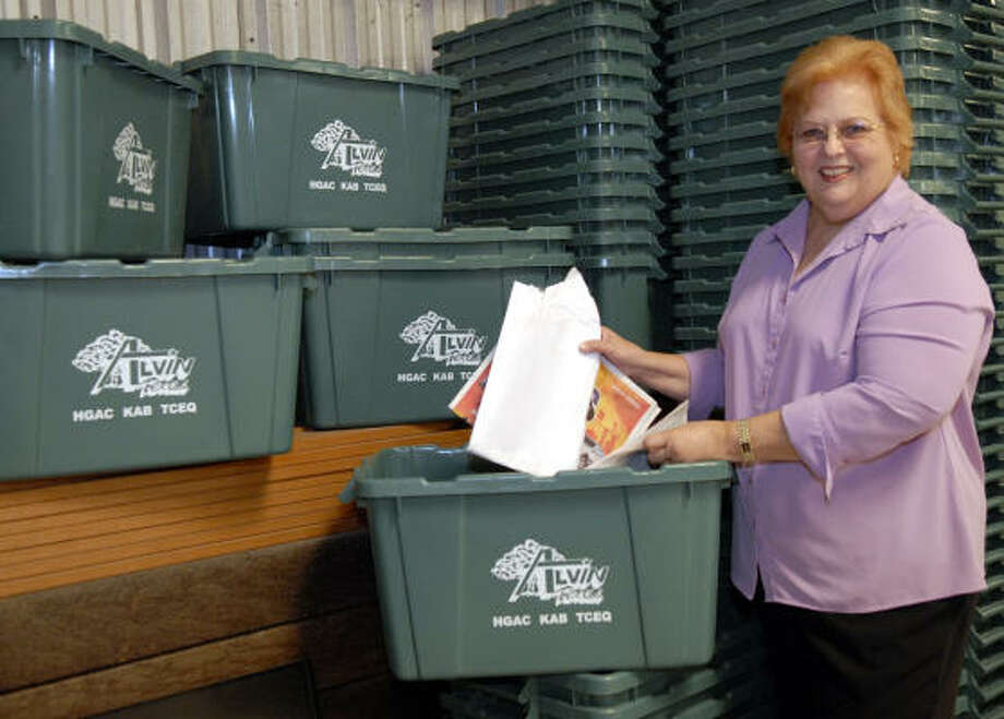 Joan Pagan is the recycling coordinator for the city of Alvin. Photo: Kim Christensen, For The Chronicle