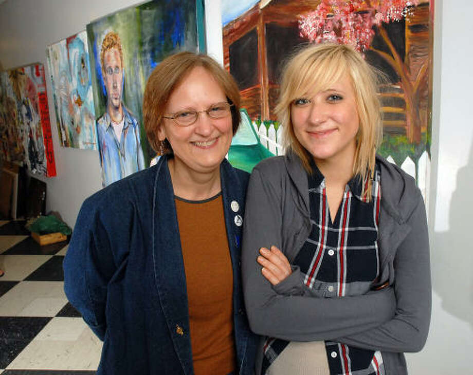 Montrose resident and High School for the Performing and Visual Arts graduate Francisca Wistuba, right, visits with her HSPVA art teacher Eileen Montgomery. Wistuba, 18, was one of five students nationwide to win a 2008 Scholastic Art and Writing Portfolio Gold Award. Photo: Dave Rossman, For The Chronicle