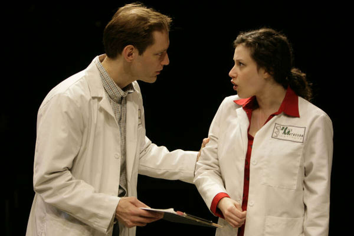 Dylan Chalfy as William Shumway and Melissa Miller as Alice Curiton perform a scene from Secret Order.