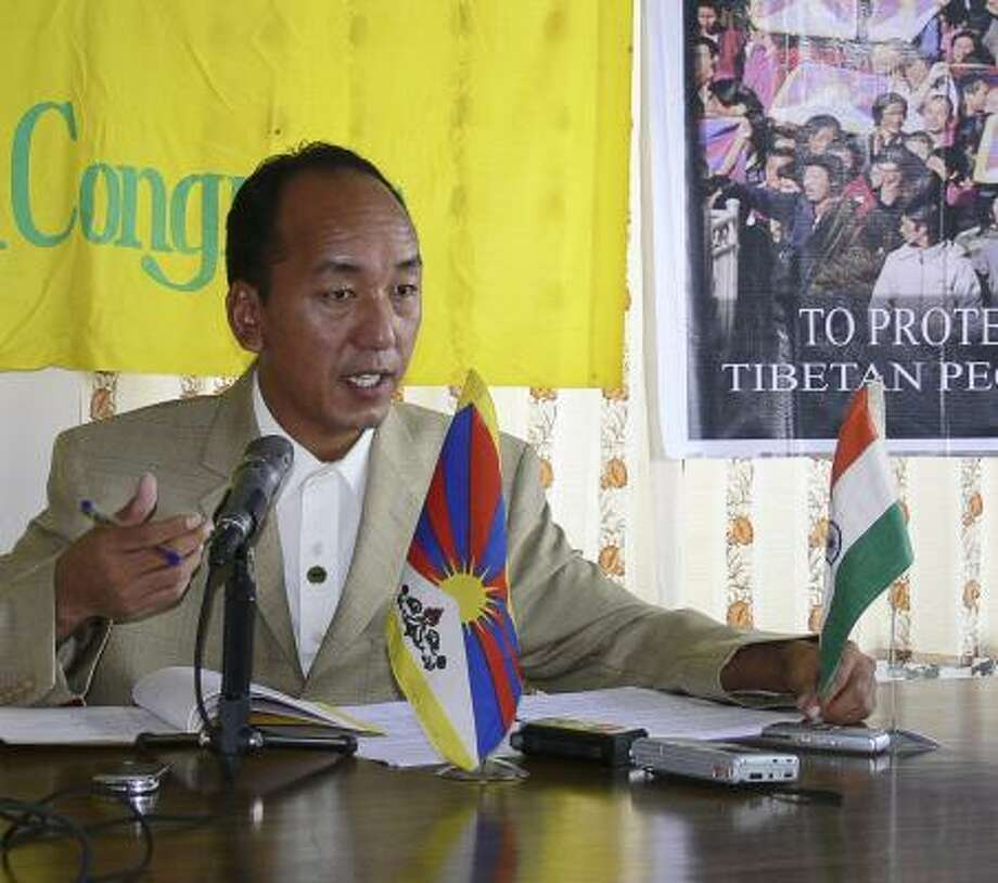 Tsewang Rigzin, president of one of the more militant of Dharmsala's activist organizations, the Tibetan Youth Congress, speaks during a news conference in Dharmsala, India, in July. Photo: ASSOCIATED PRESS
